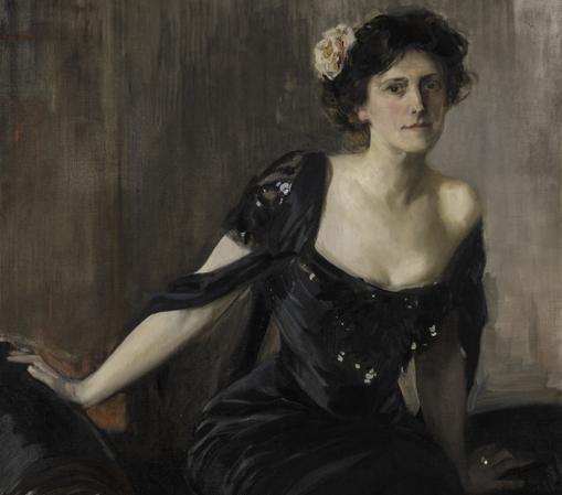 «Emilie Victorine Piolet Mitchell Gratwick» (1909), de Joaquín Sorolla. Detalle