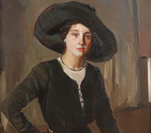 «Retrato de Elena con sombrero negro» (1910), de Joaquín Sorolla. Detalle