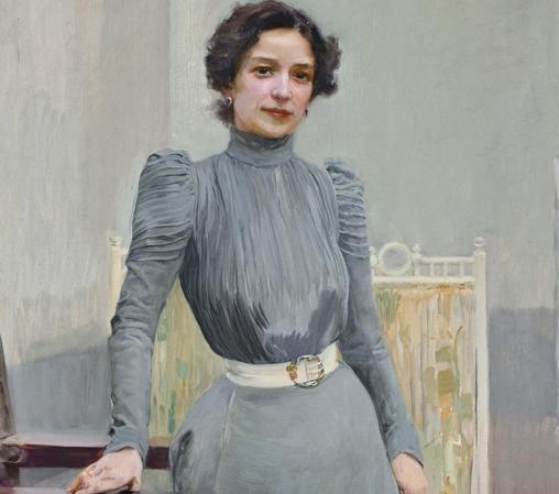 «Clotilde con traje gris» (1900), de Joaquín Sorolla. Detalle