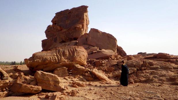 Las rocas en las que han descubierto las esculturas esculpidas de dromedarios a tamaño real