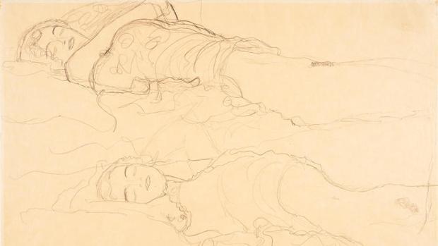 «Dos tumbados», de Gustav Klimt