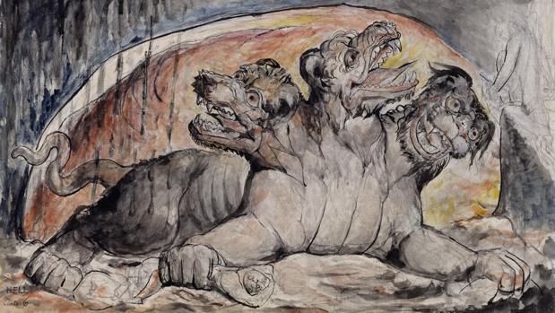 Cerbero, el perro guardián del inframundo griego con tres cabezas, pintado por William Blake