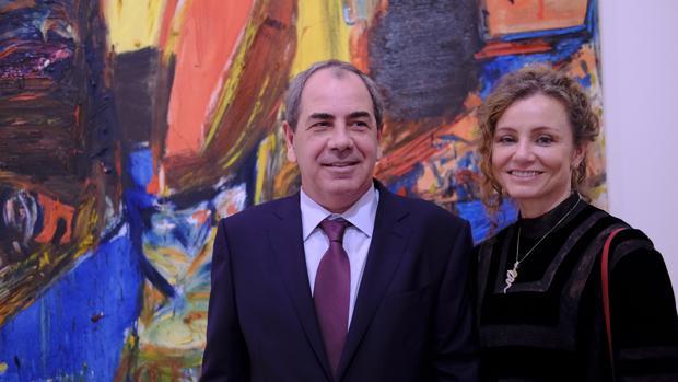 Luís Paulo Montenegro y su esposa, ayer en la exposición