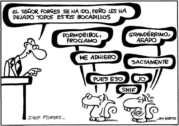 La fuerza y la influencia de las viñetas de Forges siempre ha sorprendido por su estilo de dibujo sencillo, apunta Nieto