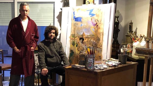 Pascual de Cabo y Morante de la Puebla, en el estudio del pintor en La Puebla del Río