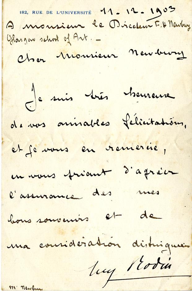 La carta que Auguste Rodin escribió a Francis Newbery el 11 de diciembre de 1903