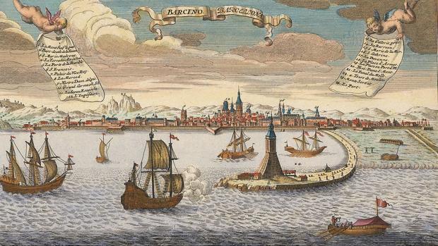 El puerto de Barcelona, en un grabado de Joseph Friedrich Leopold realizado alrededor de 1720