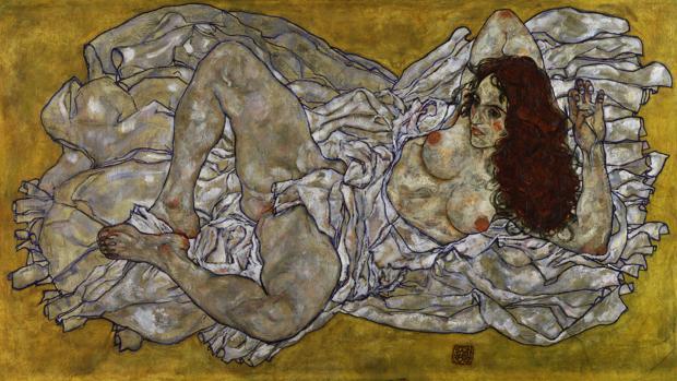 «Mujer acostada», obra de Schiele de 1917