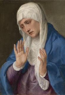 «La Dolorosa con las manos abiertas», de Tiziano. Óleo sobre mármol, 1555