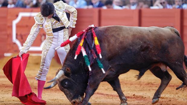 José Garrido compone un muletazo de mano baja
