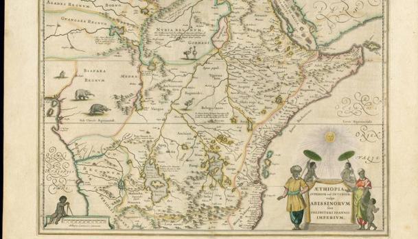 Mapa de Etiopía del cartógrafo holandés Joan Blaeu