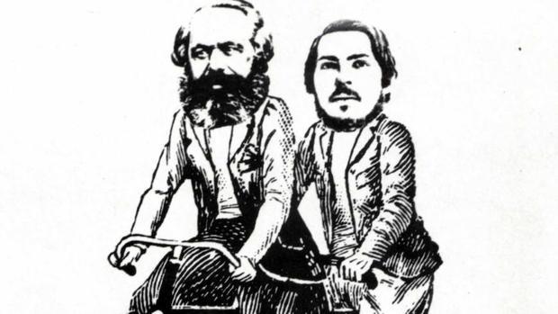 Caricatura de Marx y Engels sobre un tándem