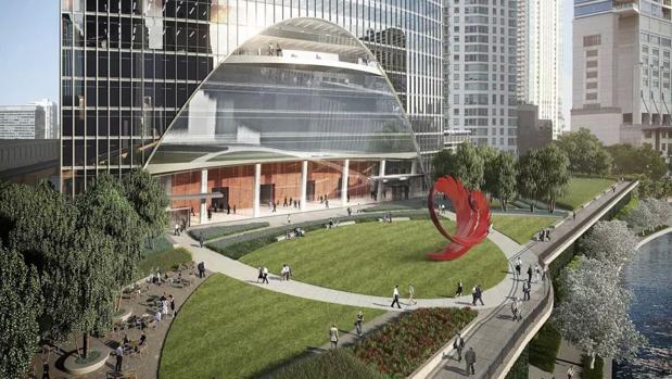 La escultura tendrá forma de espiral de color rojo y estará compuesta por láminas superpuestas