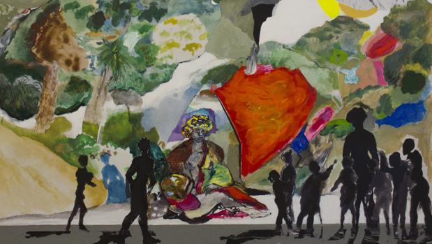 Fragmento de una de las obras de Franco en la exposición