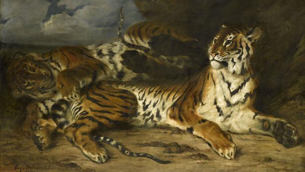 «Joven tigre jugando con su madre», de Delacroix