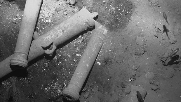 Restos de los cañones del galeón San José