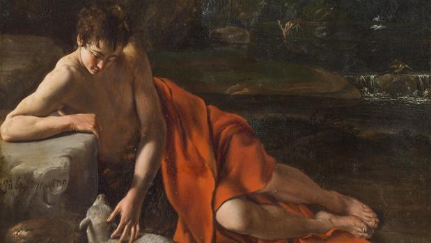 Detalle de «San Juan Bautista en un paisaje», de Juan Bautista Maíno. Óleo sobre cobre con baño de plata h. 1610
