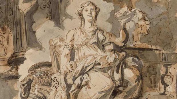 Detalle de «Vesta o Artemisa», de Paret (h. 1766-1770)
