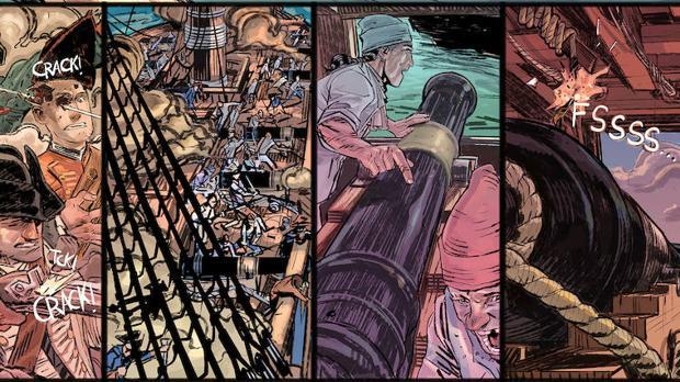Una muestra de las páginas que Guillermo Mogorrón ha creado como adelanto de «Lezo»