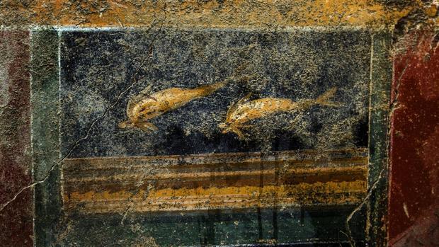 Las pinturas de delfines que cubren los muros de la domus