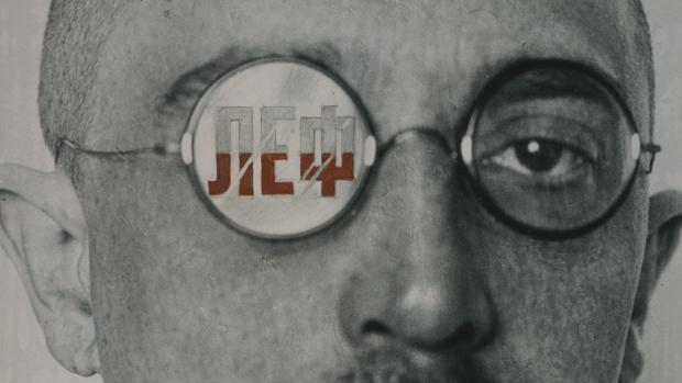 Aleksandr Ródchenko. Diseño de portada para la revista «LEF» con retrato inédito de Ósip Brik (1924). Detalle