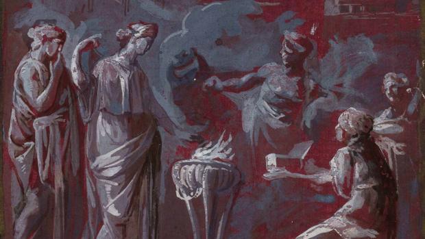Detalle de «Sacrificio ritual romano», de Luis Paret