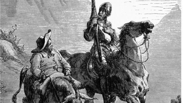 Ilustración de Don Quijote y Sancha Panza