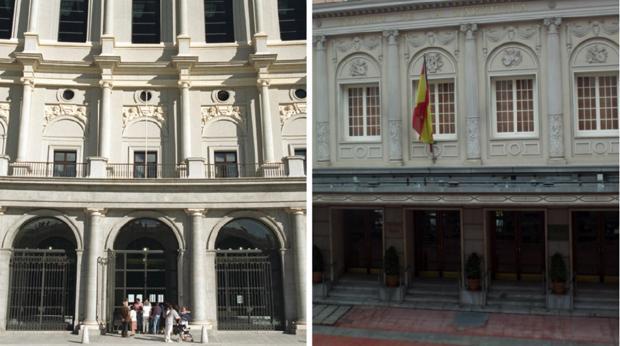 Las fachadas del Teatro Real y del Teatro de la Zarzuela