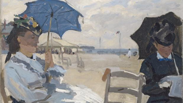 «La playa de Trouville» (1870), de Monet. Detalle