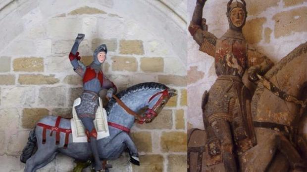 Estella vive con estupor el destrozo de la escultura del San Jorge