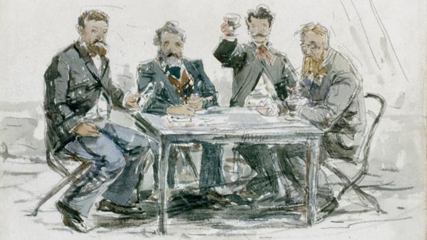 «En la granja Saint-Siméon: Jongkind, Van Marcke, Monet y el padre Achard», acuarela de Boudin de hacia 1862