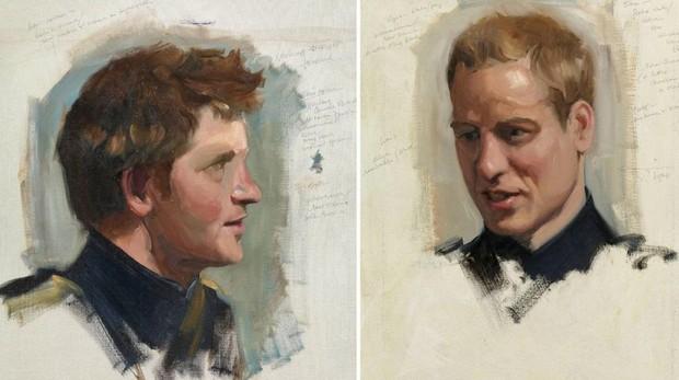 Bocetos de los príncipes Guillermo y Harry para su primer retrato conjunto