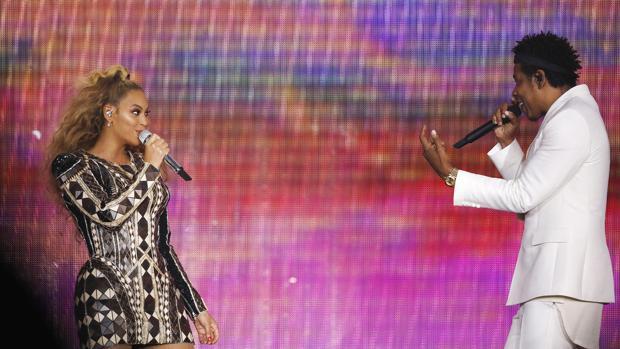 Beyoncé, y Jay-Z, durante una de las actuaciones de la gira