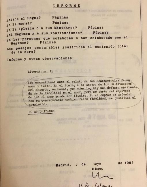 Una de las páginas del primer informe de censura, fechado en Madrid, el 7 de mayo de 1965