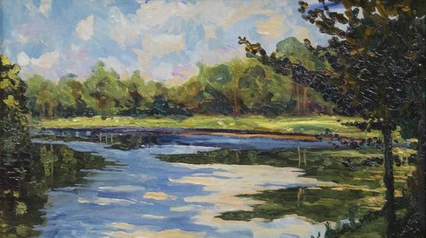 «Lago cerca de Breccles en otoño en otoño»