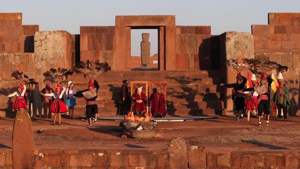 La ciudad de Tiwanaku durante la inauguración de los XI Juegos de la Odesur en mayo de este año.