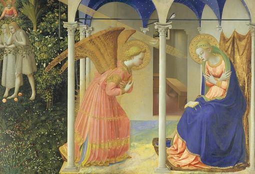 «La Anunciación» de Fra Angelico. Detalle