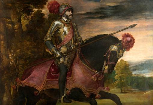 «Carlos V a caballo en Mühlberg» de Tiziano. Detalle