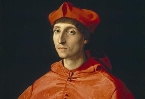 «El Cardenal» de Rafael. Detalle