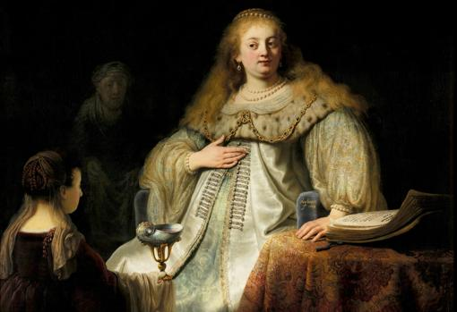 «Judit en el banquete de Holofernes» de Rembrandt. Detalle