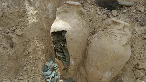 Un yacimiento arqueológico en España con monedas de bronce