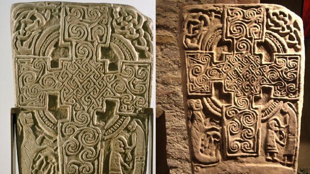 La cruz de Inchbrayock y la lápida del Museo de Álora
