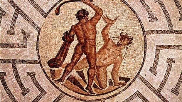 Mosaico romano que representa el mito de Teseo y el Minotauro en el laberinto