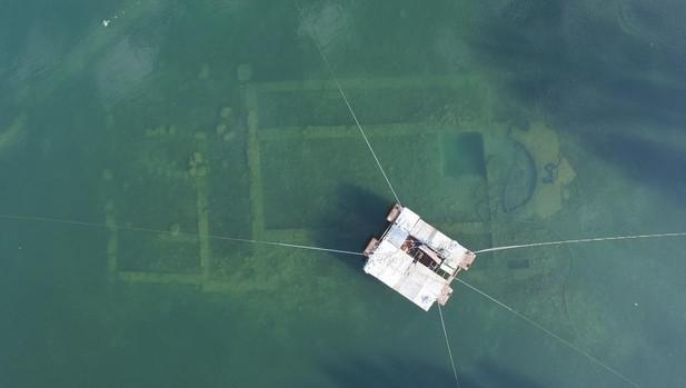 La estructura de la iglesia descubierta en el lago Iznik