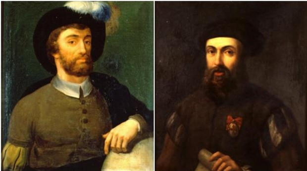 Composición en la que podemos ver a Magallanes y Elcano, los primeros navegantes en circunnavegar el mundo
