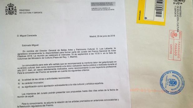 Carta enviada el 28 de junio a Miguel Cereceda desde la Dirección General de Bellas Artes del Ministerio, en la que se confirma que es jurado del premio