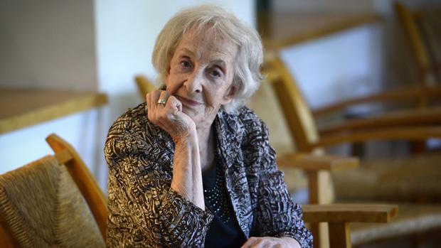 Ida Vitale, fotografiada en la Residencia de Estudiantes, en su última visita a Madrid
