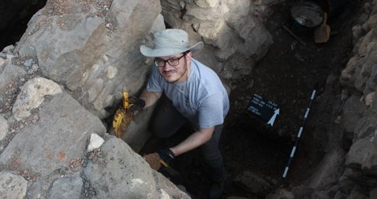 Pablo Ozcáriz, en las excavaciones de Magdala