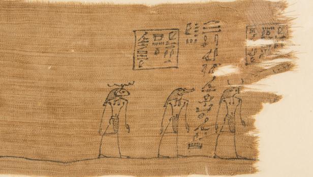 Fragmento de una venda de una momia egipcia de hace 2.300 años con una ilustración del «Libro de los muertos»