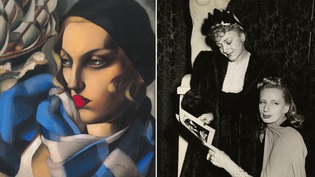 Lempicka con la actriz Virginie Field en 1941. A la izquierda, el óleo «El pañuelo azul»